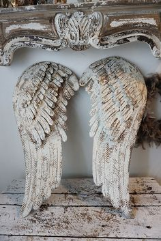 White metal angel wings wall hanging French Nordic cream wing set shabby cottage chic distressed large ornate home decor anita spero design