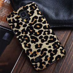 RAYTOP Shiny Glitter Powder Gold Leopard Hard Cases + Screen Protector for Samsung Galaxy S5 GT-I9600 Slim Fit Covers Combo Luxury Bold Stylish Women Girls:Amazon:Cell Phones & Accessories