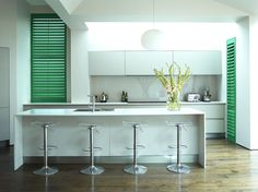 #Cedar #Shutters can make #kitchen outlook appealing & also allows air exhaust.