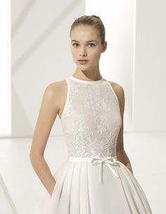 This subtle classic combines a dazzling beaded lace bodice with halter neckline and fitted waist with a lightweight yet beautifully full silk garza skirt with short train. Sheath Wedding Gown, Bridal Wedding Dresses, Dusty Pink Bridesmaid Dresses, Weeding Dress, Dress Robes, Bride Gowns, Different Dresses, Glamour, Dream Dress