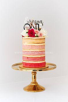Sweet Empire naked Ombre Pink cake. Raspberry, Strawberry, Watermelon, Rosewater & Vanilla Bean.  www.sweetempire.com.au www.facebook.com/SweetEmpire Instagram:  sweetempireaustralia