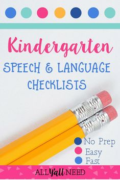Speech & language checklist bundle for Pre-K kindergarten and first and second grade. Designed for SLPs in the school setting. Print and keep copies for teachers who have concerns about students. Speech Therapy Activities, Language Activities, Speech Language Therapy, Speech And Language, Speech Pathology, Teacher Checklist, Receptive Language, Kindergarten, Students