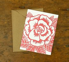 HANDCRAFTED — A Rose Is A Rose — Original Hand-carved Block Cut, Handprinted Boxed Set of 6 Cards