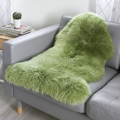 Hover over image to zoom Air B And B, Sheepskin Rug, Floor Rugs, Biodegradable Products, Plush, Warm, Blanket, Green, Image