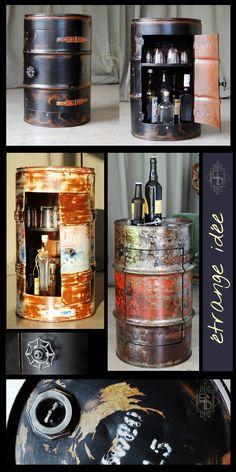 Bidons d'huiles transformés en mini bar, table de chevet. , style industriel , loft, steampunk tout en récup, en vente sur mon site etrangeidee.fr / Thierry OTTAVI Artisan Français #bidon #upcylcing #deco #recup #industrial #meuble #industriel #steampunk