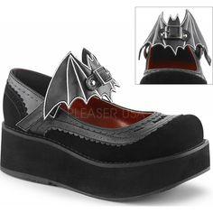 Demonia Shoes - SPRITE-09 Black Vegan Leather-Velvet