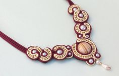 Burgundy Soutache Necklace with Pearls and Beads
