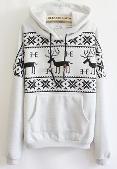 Grey Long Sleeve Deers Print Pocket Front Hoodie