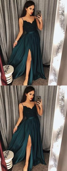 Sexy Dark Green V-Neck Lace Bodice Prom Dress,Green Slit Side Evening Dresses #darkgreenpromdresses #prom #dresses #longpromdress #promdress #eveningdress #promdresses #partydresses #2018promdresses #homecomingdresses