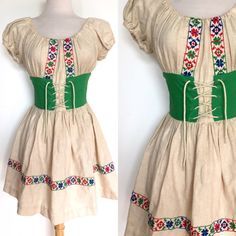 70s Boho Tyrolean Dress 70s Embroidered Corset Dress