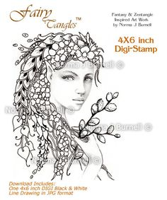 Digi Stamp for Crafting and Card Making https://www.etsy.com/listing/194312876/pussywillow-fairy-and-fairy-tangles-digi?ref=shop_home_active_2