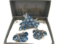 Signed Eisenberg Ice Jewelry Set Blue Crystal Rhinestone Brooch Clip On Earrings Earings Rare High End Antique Bridal Wedding Jewelry