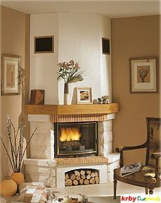Corner Stone Fireplace, Fireplace Mantels, Antique Furniture, Home Projects, House Design, Living Room, Interior Design, Architecture, Villa