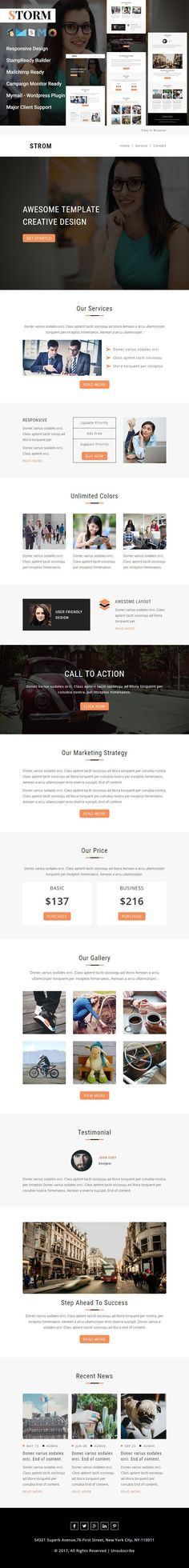 Storm - Responsive email template from pennyblack is beneficial for corporate, business and compatible with StampReady, MailChimp, Campaign Monitor & Mymail. Email Templates, Newsletter Templates, Mail Chimp Templates, Campaign Monitor, Responsive Email, Photoshop Plugins, Email Client, Google Fonts, Wordpress Plugins