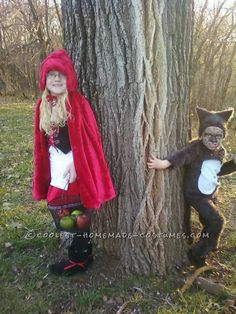 Cool DIY Couple Costume for Brother and Sister: Little Red Riding Hood and the Big Bad Wolf... Coolest Homemade Costumes