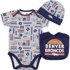 943ab3c09f2 Details about NFL Denver Broncos Bodysuit, Bib & Hat Set Infant Choose Your  Size