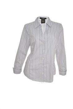 Ann Taylor Button Down Shirt 10P 12P Petite Vneck French Flip Cuff Striped NEW