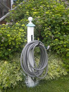 DIY garden hose hanger with 4 x 4 painted wood finial hardware store hose holder - gardenfuzzgarden.com