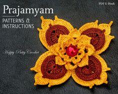 Prajamyam - Crochet Flower Pattern - Thai Art Influenced Crochet Flower - Crochet Applique - Flower Brooch - Crochet Decor