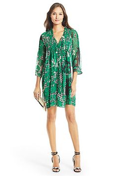 DVF Layla Chiffon Tunic Dress in in Toile Collage Green