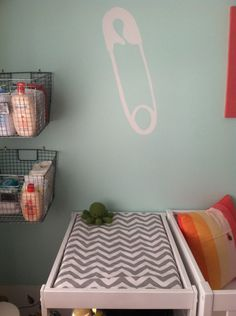 Nursery Organization Idea: Nail wire baskets to the wall to hold changing supplies (diapers, lotions, etc.) for the changing table