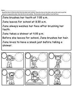 FREE In this activity, your students will read each of the statement clues to determine what time of the day Jane does each activity.  All times are either on the hour or the half hour.    Your students will draw the time on each clock, and write the number in the oval to put the events in chronological order, from first to last.    ***Note:  Some of the times are listed as A.M.