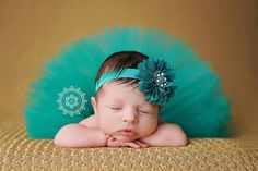 Teal Flower Headband  Baby Headband  Girls by cutiepiegoodies