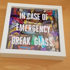 Candy Shadow Box - In Case of Emergency Break Glass. 31 DIY Christmas Gift Ideas  #DIY #DIYChristmasGifts #ChristmasGiftIdeas #giftguide