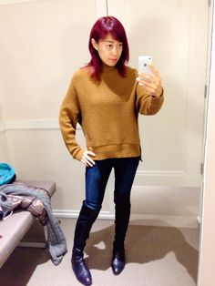 Mustard yellow bat style sweater, over knee boots