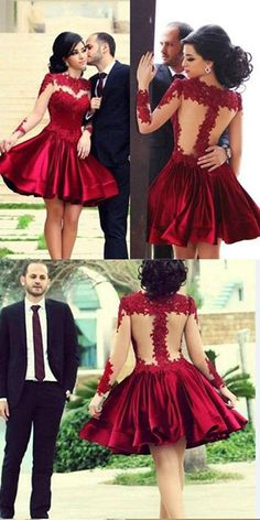 Sexy A-line Scoop Homecoming Gown,Knee Length Prom Gown,Long Sleeve Satin Homecoming Dresses with Appliques,See-through Cocktail Dresses,Party Dress