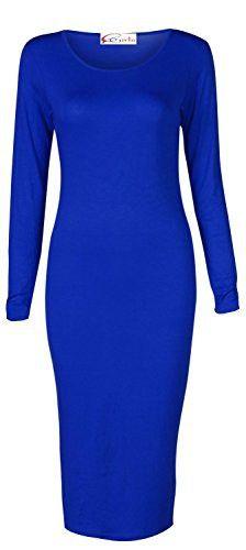 Crazy Girls Womens Ladies Long Sleeve Scoop Neck Midi Dress (L/XL-US12/14, Royal Blue)