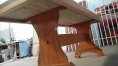 como fazer uma mesa de madeira pé em x - YouTube