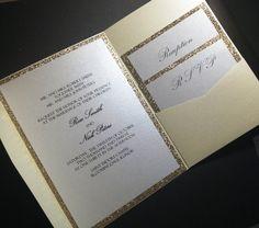 Gold glitter Wedding Invitation Suite por URinvitedus en Etsy