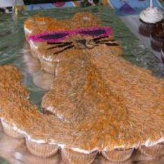 Calico Cat Cupcake Cake - cake should never be furry.