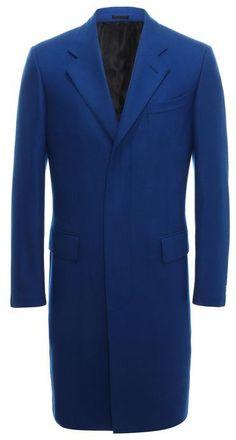 $2,830, Blue Overcoat: Alexander McQueen Light Cashmere Overcoat. Sold by Alexander McQueen. Click for more info: https://lookastic.com/men/shop_items/9431/redirect