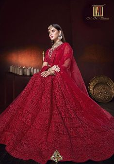 Red Net Designer All Over Floral Embroidered Lehenga Choli Lehenga Choli Designs, Wedding Lehenga Designs, Indian Bridal Outfits, Indian Bridal Fashion, Indian Designer Outfits, Indian Dresses, Indian Lehenga, Indian Wedding Lehenga, Bridal Red Lehenga