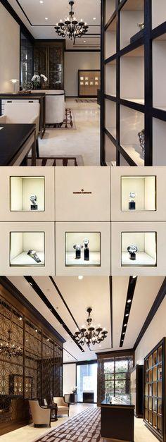 Achterwand kassa, voorzijde antraciet voor meer contrast, binnenzijde wit; tassen en accessoire presentatie