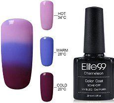 Gel Nail Polish, Elite99 UV LED Temperature Colour Changing Gel Polish Soak Off Chameleon Nail Varnish 10ml (4220)