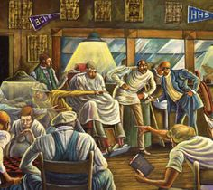 """""""The Palace Barber Shop"""" by Ernie Barnes"""