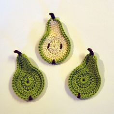 crocheted pears