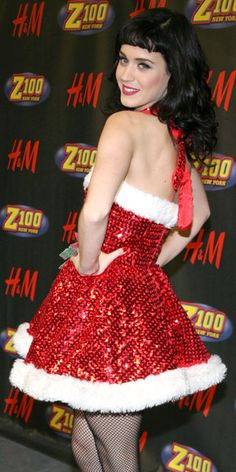 Katy Perry in a christmas/holiday dress