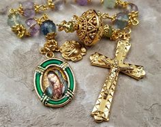Our Lady of Guadalupe   Amethyst Fluorite Peridot   Handcrafted Gold Rosary Tenner