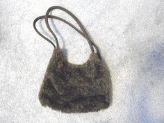 Jordan Accessories NYC Bag Dark Gray Fur Front Black Back Shoulder Bag #JordanAccessoriesNYC #ShoulderBag