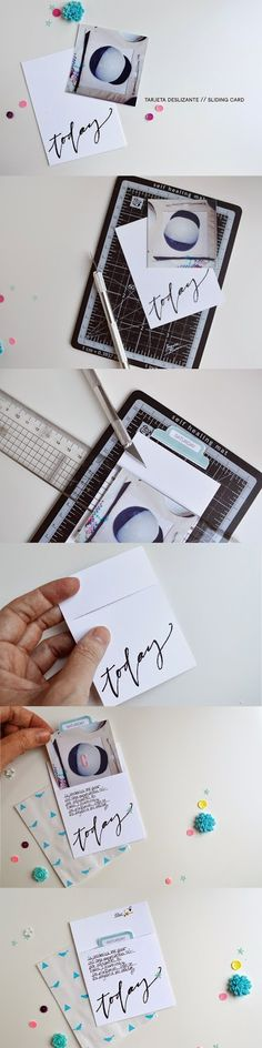 cutting a Project Life card to make a pocket
