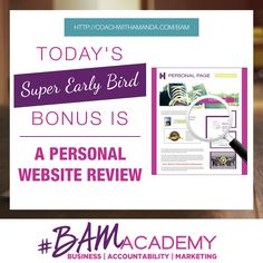 Sign up for the #BAM Academy Wait List today and get access to Personal Website Review, PLUS ALL 9 Other Bonuses. The earlier you sign up, the more bonuses you get. After today, this Personal Website Review bonus is GONE! JOIN HERE >> http://coachwithamanda.com/bam?utm_content=bufferf130e&utm_medium=social&utm_source=pinterest.com&utm_campaign=buffer   #coaching #femaleentrepreneur #womeninbusiness #bossbabes #ladyboss #businesswomen #businesswoman #heartcentered #entrepreneurlifestyle…