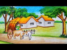 Very easy drawing scenery of bullock cart step by step.It is a clear-cut,easily understood detailed method to help you. Scenery Paintings, Oil Pastel Paintings, Oil Pastel Art, Oil Pastel Drawings, Indian Paintings, Oil Pastels, Nature Paintings, Beautiful Scenery Drawing, Scenery Drawing For Kids