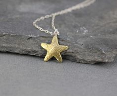 Starfish pendant  Brass Gold color Ocean Jewelry by HapaGirls, $42.00