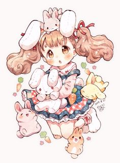 Cute Anime Chibi, Chica Anime Manga, Kawaii Chibi, Kawaii Anime Girl, Kawaii Art, Anime Art Girl, Kawaii Drawings, Cute Drawings, Cute Characters