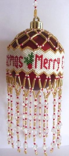 X569 Bead PATTERN ONLY Beaded Merry Christmas by BeadedBundles, $4.95