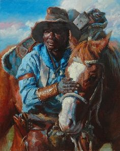 Long Drive Ahead by Jim Clements, Oil, 10 x 8 African American Artist, African American History, African Art, American Artists, Asian History, Cowboy Art, Cowboy Chic, Black Cowboys, West Art